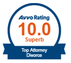 Avvo Rating 10/10 Award Badge: Top Divorce Attorney